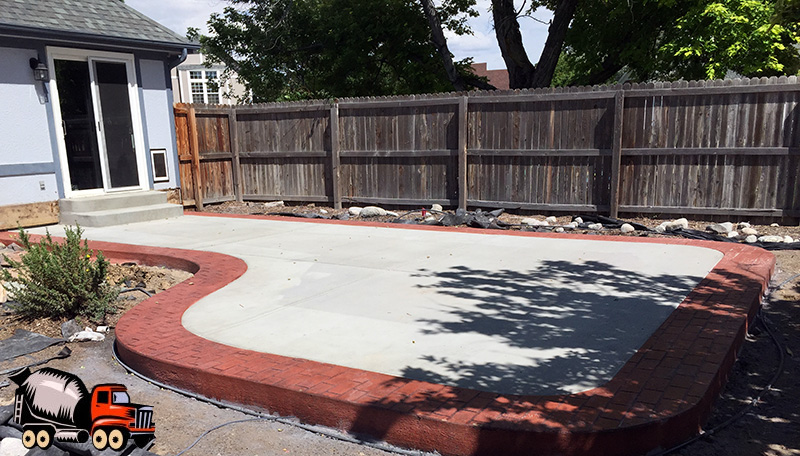 Stamped Concrete Boarder Around Patio In Denver, CO